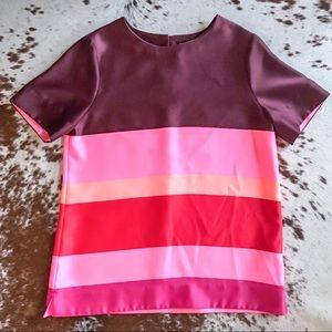 Banana republic pink striped top